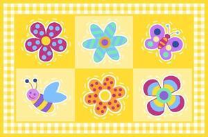"Fun Rugs FLOWERLAND Rug OLK-028 3958 Decorative Cute Yellow 39"" X 58"" ON SALE"