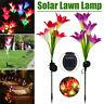 2Pcs 4LED Solar Power Lily Flower Stake Lights Outdoor Garden Path Luminous Lamp