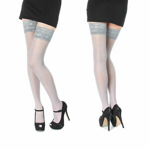 NEW Lace Top Sheer Hold Ups Stockings GREY One Size