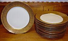 "12 Antique Jesse Dean 1865 France Porcelain Gold Border Plates - 10 3/8"""
