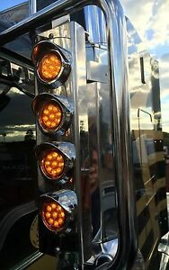 """Mirror Stainless - A/A 2"""" Grommet Lights to suit Kenworth, Mack and Western Star"""