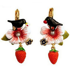 Earrings with Bird, Strawberry and Flower, Enamel, Crystal, gold coloured