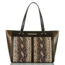 Brahmin Medium Arno Python Embossed Leather Tote Satchel (Pink Ellora)