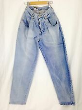 Vintage Forenza  High Waisted Mom Light Wash Button Fly Skinny Pleats Size 8