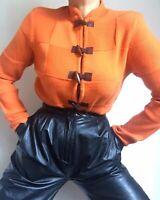 Vintage 90s Orange Wooden Toggle Closure Patchwork Cardigan Size S-M