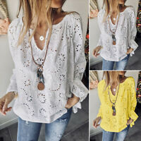 ZANZEA Womens Long Sleeve V Neck Lace Patchwork Tops Casual Loose Shirts Blouse