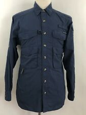 EXOFFICIO The Adventure Travel M Blue Cotton Polyester Outdoor Button Shirt
