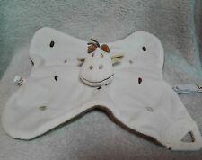 Doudou plat carré vache blanc marron anneau dentition Aubert P'tit bisou