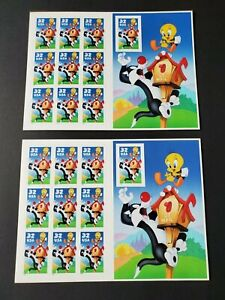 Two, 1998, Looney Tunes, US Stamp Sheet, Sylvester and Tweety, 20q - 32 Cent.