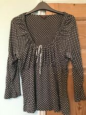 Phase Eight Grey And White Spotted Top With White Bow Plus Size 16/18