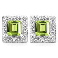Ohrringe/Ohrstecker Cary, 925er Silber, 1,23 Kt. echter Peridot/Diamant