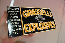 GRASSELLI EXPLOSIVES DYNAMITE SQUIBS PORCELAIN METAL SIGN MINNING COAL GAS OIL