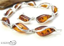 NATURAL BALTIC AMBER STERLING SILVER 925 JEWELLERY BRACELET Certified & BOX