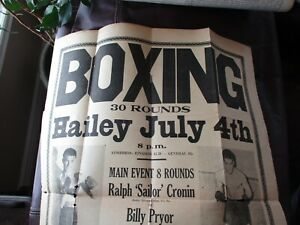 """Hailey Idaho July 4th 1939 Vintage Boxing Poster 16"""" by 21 1/2"""" Cronin vs Pryor"""