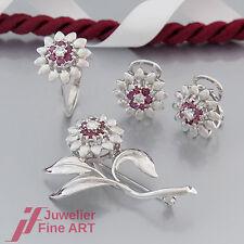 Schmuckset- Ring/Ohrclipse/Brosche mit Brillant(Diamant)&Rubin- 14K/585 Weißgold