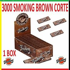 CARTINE SMOKING BROWN CORTE 1 BOX 50 LIBRETTI 3000 FOGLI - MARRONI + accendino