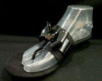 NWOB Anne Klein Women's Impeccable Wedge Sandal Slide Black Bow Shiny Size 7