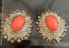 Faux Coral Domed Cabochon Rhinestone Embedded Vintage JOMAZ Earrings!