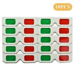 10pcs Glasses Red / Green Cyan Paper Card 3D Anaglyph Z3R6 Glasses S1J5
