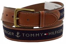 Tommy Hilfiger Men's Navy Ribbon Inlay Fashion Leather Belt (Free postage)