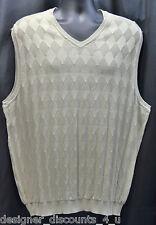 Mens IZOD Vintage 100% mercerized Cotton Vest V-Neck Golf Khaki Beige SZ XL