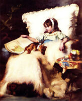 Huge Oil painting nice young girl seated reading Comic Book on sofa & pet dog