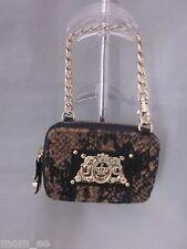 JUICY COUTURE Wristlet Purse Bag Wild Things Snake Print Velour Brown Black NEW