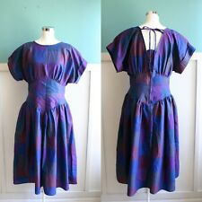 VTG 80's 50's style purple blue teal open back summer sun dress sz 14 L