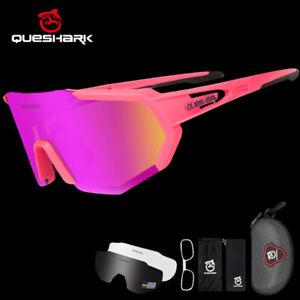 Queshark Men Cycling Sunglasses Women Polarized Sport Glasses Eyewear 3Lens QE42