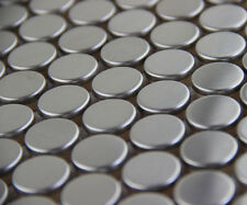 penny round stainless steel metal mosaic tile kitchen backsplash bathroom shower