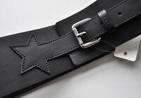 Esprit Breiter Leder-Gürtel mit Sternemotiv Gr. M bzw. 80 cm Schwarz