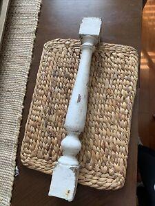 Single Antique Shabby Chippy White Baluster Post Column Pillar Display Decor