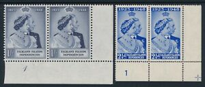1948 MNH FALKLAND ISLANDS DEPENDENCIES SILVER WEDDING SET WITH PLATE NUMBER