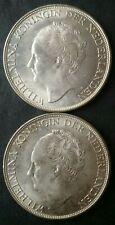 Two 1944 Netherlands 2 1/2 Gulden Silver Wilhelminas
