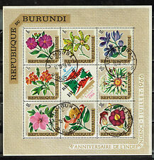 Burundi Flora Flowers Plants Flag Souvenir Sheet 1968