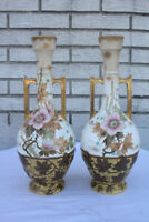 Beautiful Pair of Antique Royal Bonn Hand Painted Colorful Vases, Signed