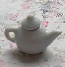 Miniatura ceramica teiera panciuta bianca - dolls house 1:12