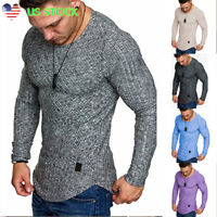Mens Slim Fit Crew Neck Long Sleeve Muscle Tee Casual Autumn T Shirt Tops Blouse