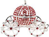 VI N VI Red Rhinestone Princess Cinderella Crystal Pumpkin Carriage Trinket Box