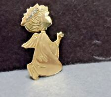 clear rhinestone halo and bobble head Gold Little girl praying angel pin with