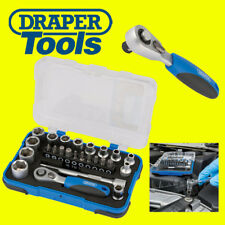 "DRAPER 25 Pce Metric 1/4"" Hex Socket + Mini Ratchet & Screwdriver Bit Set 16354"