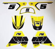 Kit deco pour moto cross pee wee piwi Yamaha PW50 PW 50 Yellow Vintage
