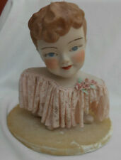 """Dresden Lace Woman Lady Bust porcelain Pink 6"""" Figurine Head Victorian"""