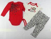 Calvin Klein Baby Girls' 3 pcs Bodysuit & legging Set sizes 12,18, 24 months