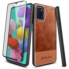 For Samsung Galaxy Note 10 Lite Brown Leather Phone Case Cover + Tempered Glass