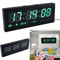 Modern Digital LED Table Desk Night Wall Clock Alarm Watch 24/12 Hour Display US