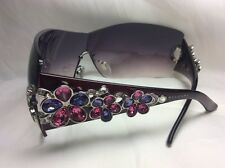 BVLGARI 652-B ED. PURPLE SUNGLASSES SWAROVSKY FLOWERS VIOLET GRADIENT MSRP $1038
