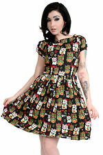 Ladies 50s Retro Vintage Japanese Lucky Cats Pleated Swing Pin Up Dress 8  to 18 93c45b947f63