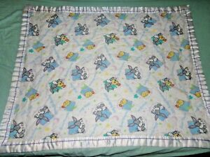 """Vintage 1996 Baby Looney Tunes Baby Blanket Crib Throw 43"""" x 34"""" - Stain"""