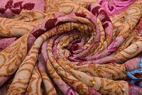 Vintage Beige Étnicos Saree Seda Pura Mano con Cuentas 4.6m Tela Sari Confección